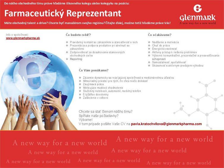 Spoločnosť Glenmark Pharmaceuticals hľadá do pracovného tímu nového kolegu alebo kolegyňu!