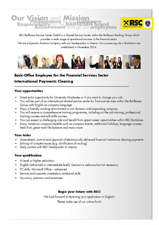 Back-Office Employee for the Financial Services Sectoor International Payments Clearning