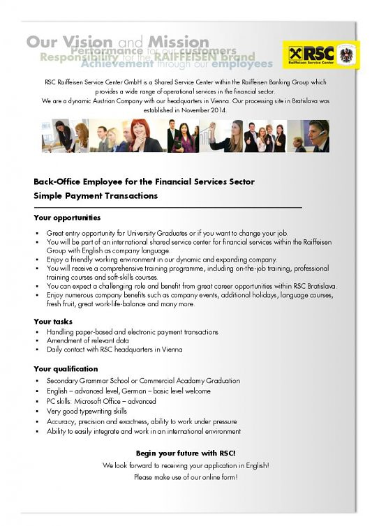 Back-Office Employee for the Financial Services Sector Simple Payment Transactions