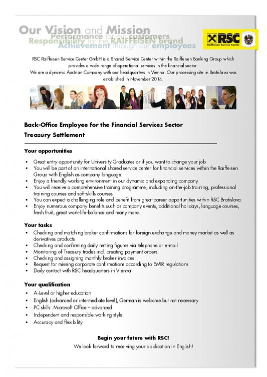 Back-Office Employee for the Financial Services Sector Treasury Settlement
