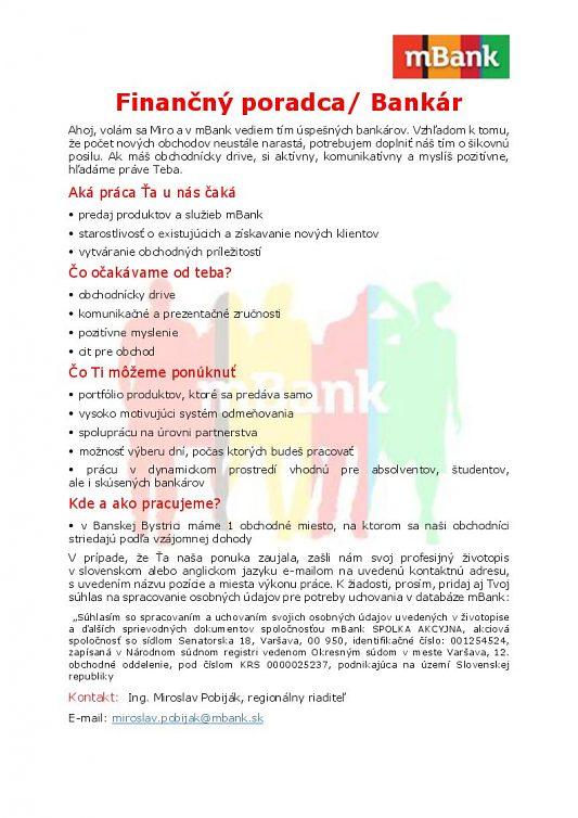 mBank-Finančný poradca/Bankár