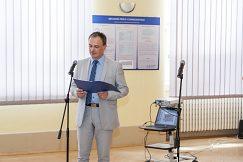Privítanie hostí dekanom EF UMB doc.  Ing. Petrom Krištofíkom, Ph.D.