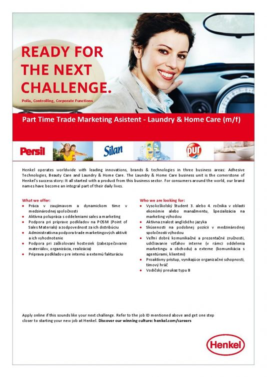 Henkel Slovensko - Part Time Trade Marketing Asistent - Laudery and Home Care