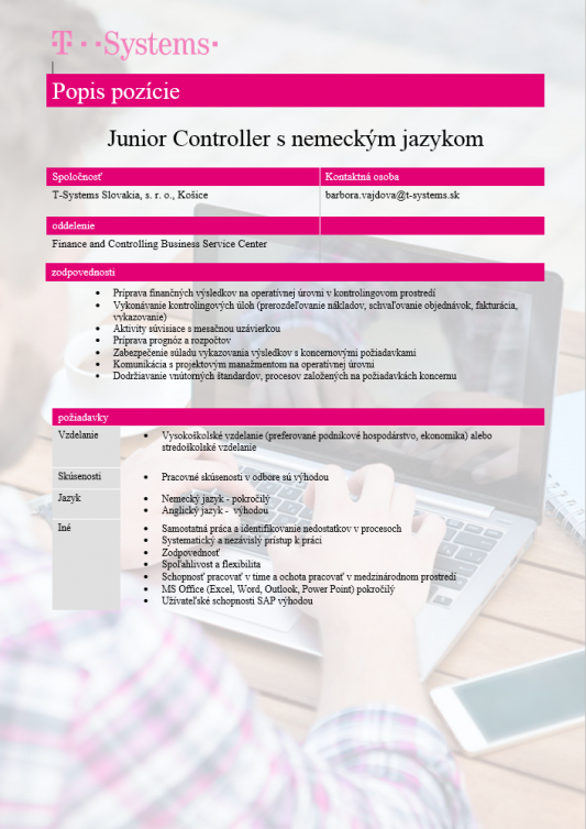 Junior Controller s nemeckým jazykom