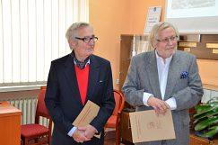Ocenení profesori emeritus - zľava Dr. h. c. prof. RNDr. Beloslav Riečan DrSc., Dr. h. c. prof. Piotr Jerzy Kunce