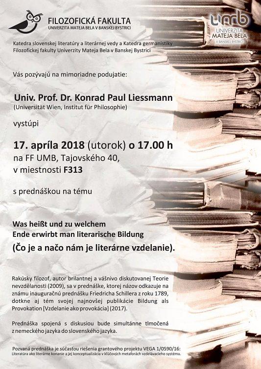 Prof. Konrad Paul Liessmann bude prednášať na UMB