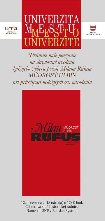 Slávnostné uvedenie knihy výberu poézie Milana Rúfusa