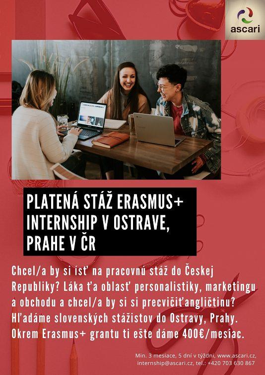 Platená stáž Erasmus+ v Ostrave a Prahe