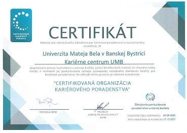 Kariérne centrum UMB získalo značku kvality