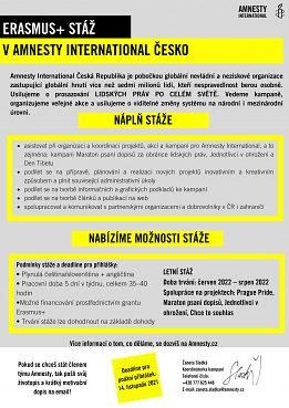 Ponuka študentskej stáže v Amnesty International