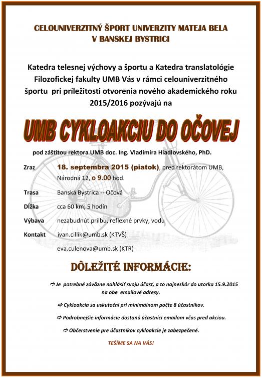 UMB cykloakcia do Očovej