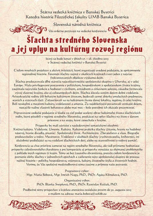 Šľachta stredného Slovenska a jej vplyv na kultúrny rozvoj regiónu