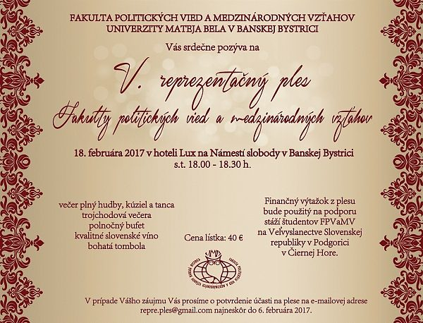 V. Reprezentačný ples Fakulty politických vied a medzinárodných vzťahov UMB