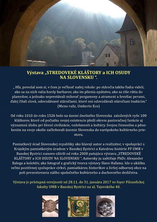 Výstava Stredoveké kláštory a ich osudy na Slovensku