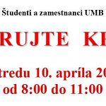 Darujte krv na FPV a FF UMB!