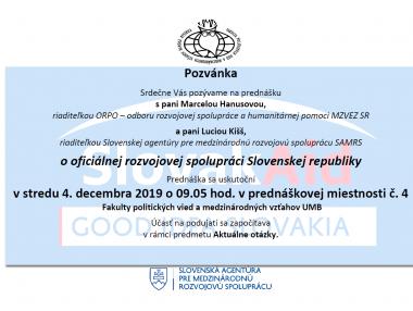 O oficiálnej rozvojovej spolupráci SR