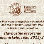Slávnostné otvorenie akademického roka 2015/2016 na UMB