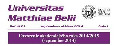 Spravodajca UMB 1/2014 (september - október)